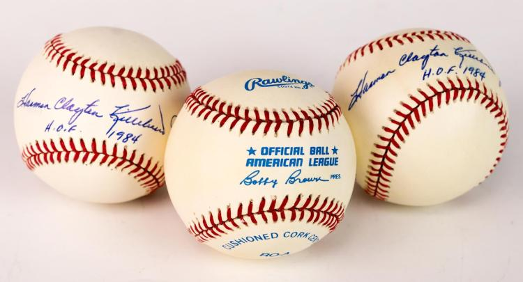3 Pc. Harmon Killebrew Signed Baseball Lot