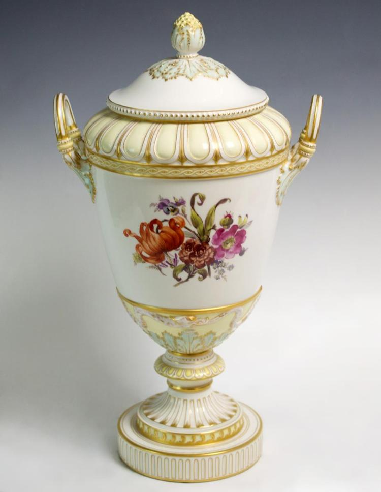 KPM Hand Painted Porcelain Vase w/ Lid, German