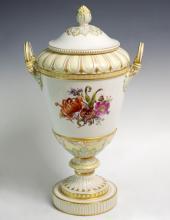 KPM Hand Painted Porcelain Vase w/ Lid, German