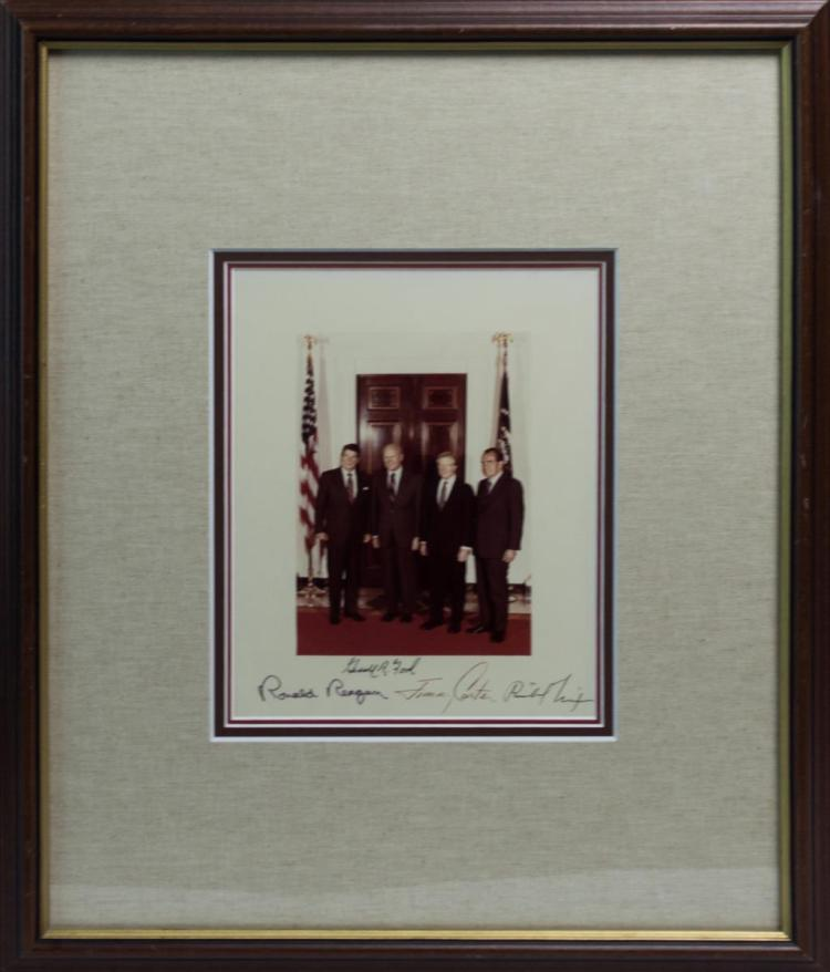 4 President Signed Photo Reagan Carter Ford Nixon