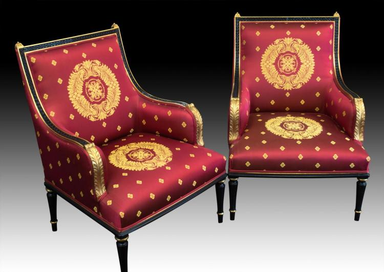 2 Chairs, Black & Gold Frames w/ Maroon Upholstery