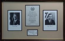 Presidential Inauguration Framed Display, 1985