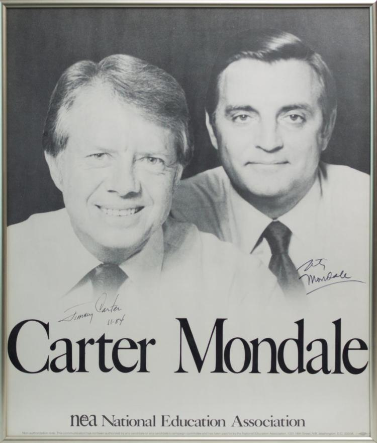 Carter & Mondale Signed NEA Campaign Poster
