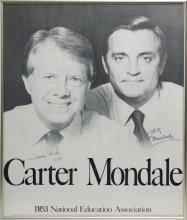 Carter & Mondale Signed NEA Campaign Poster