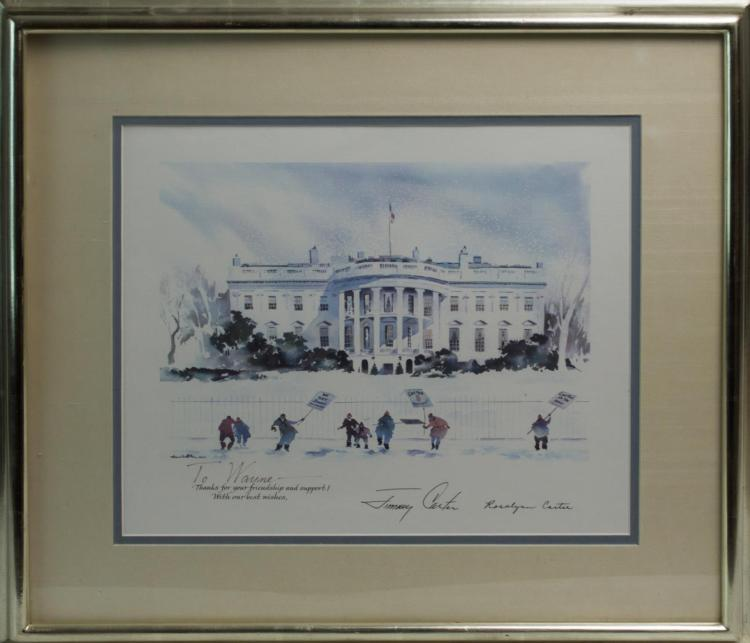 Signed President Carter Christmas Card Print