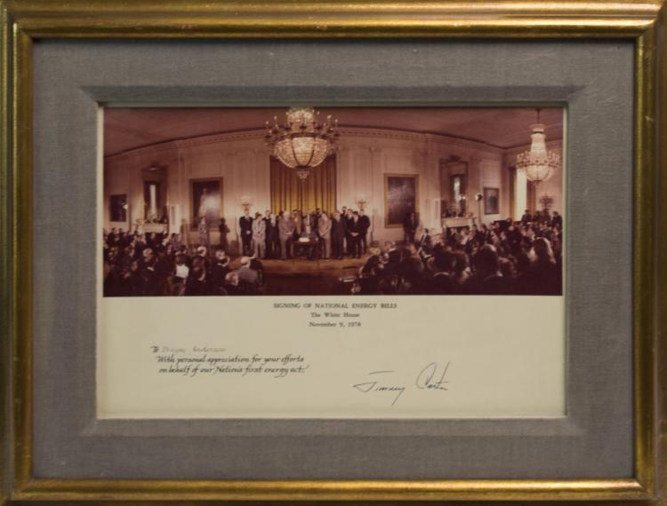 Signed Photo, President Carter Signing Energy Bill