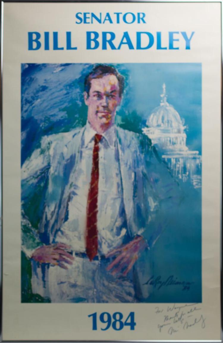Senator Bill Bradley Signed LeRoy Neiman Poster