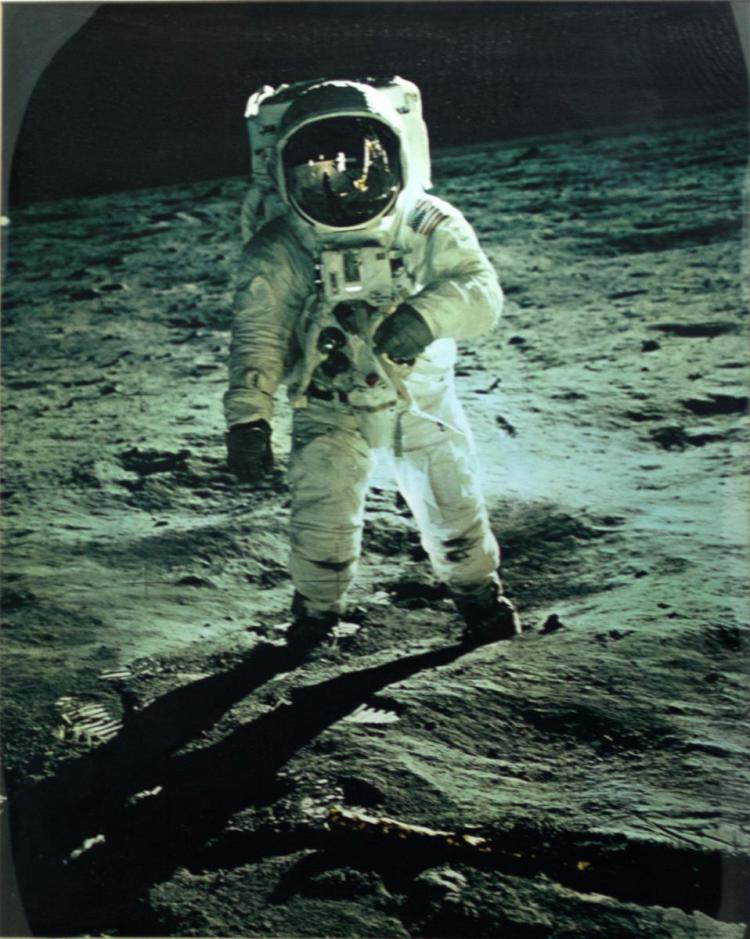 Moon Walk Photo, Signed by Buzz Aldrin
