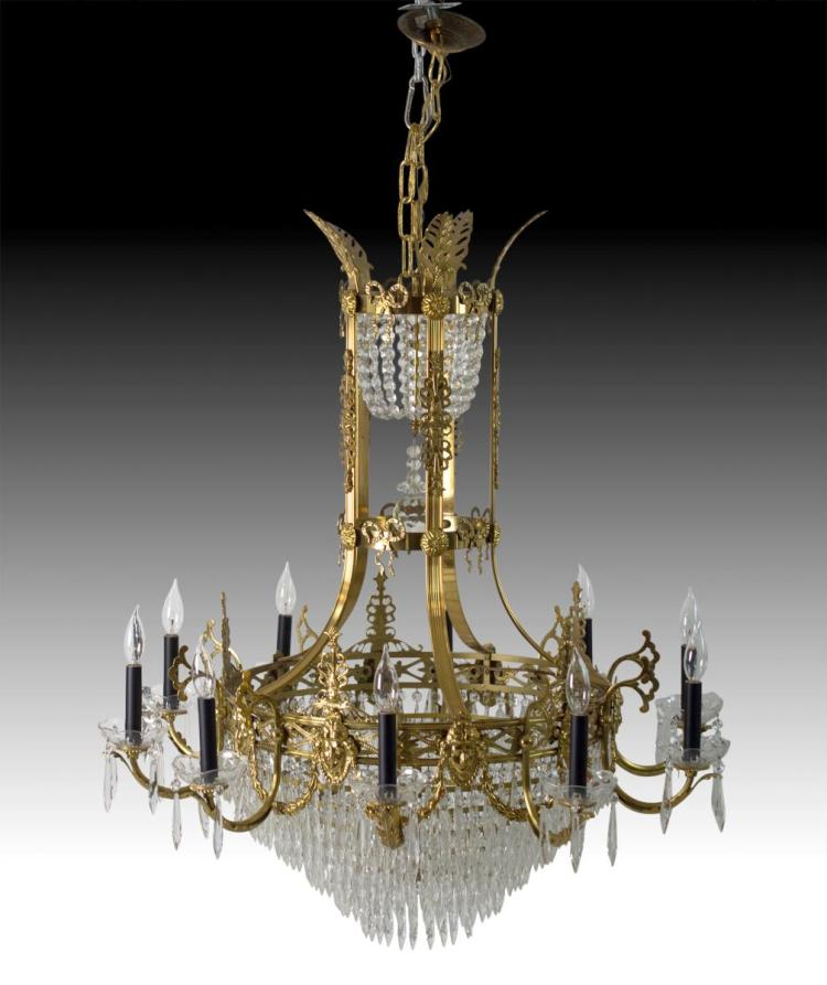 20th C. Formal Empire Chandelier by Metal Crafts