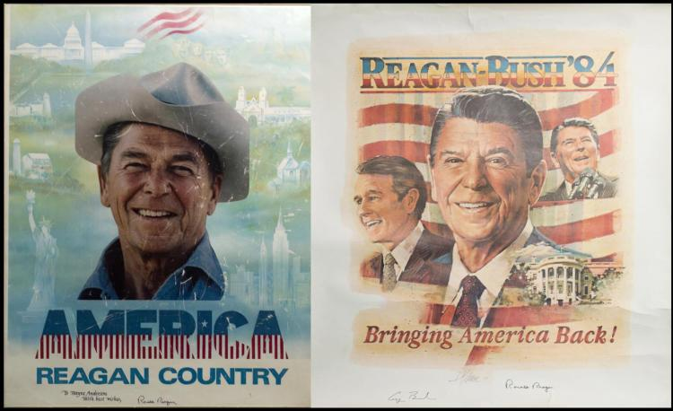 2Pc. Signed Ronald Reagan & George Bush Posters