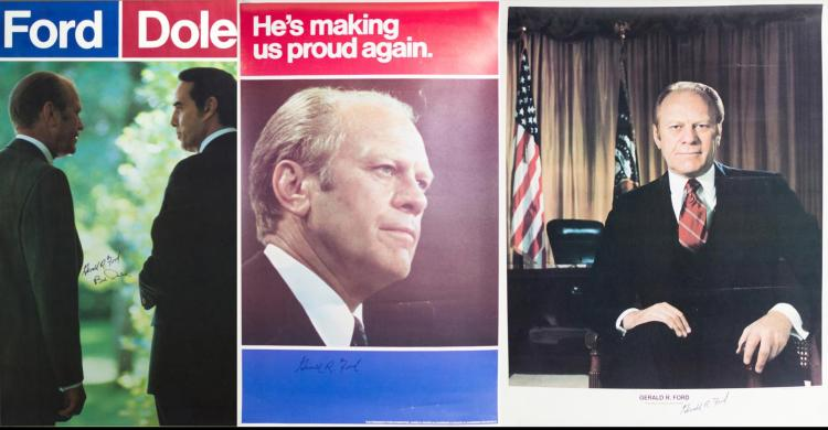 3Pc. Signed President Ford/Dole Political Posters
