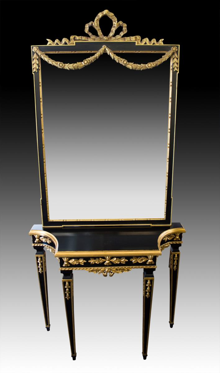 Pr French Style Console Table & Mirror Gilt Design