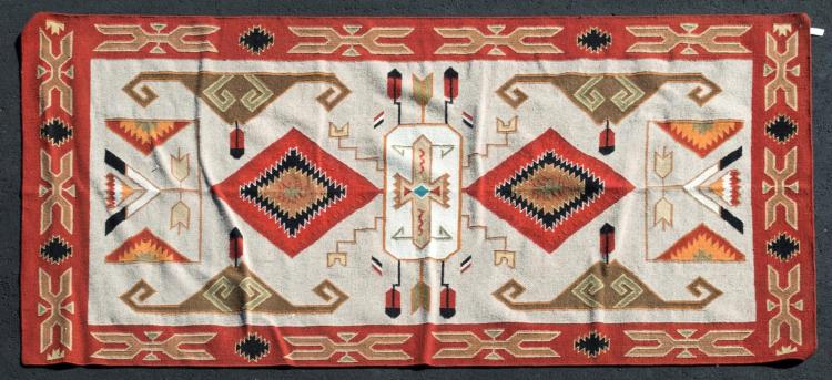 Navajo Style Dhurrie Flat Weave Rug Double Diamond
