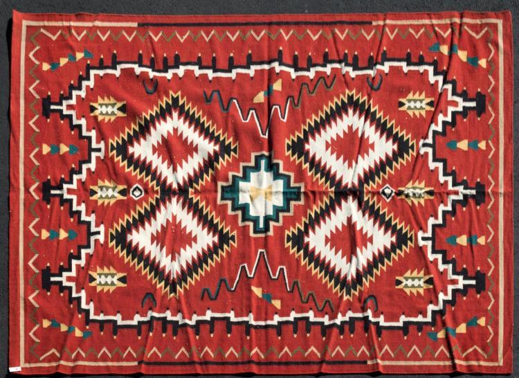 Navajo Style Flat Weave Rug Diamond Pattern