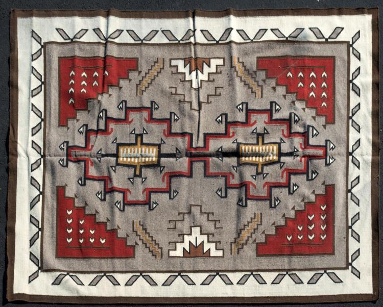 Navajo Style Flat Weave Rug, Double Diamond