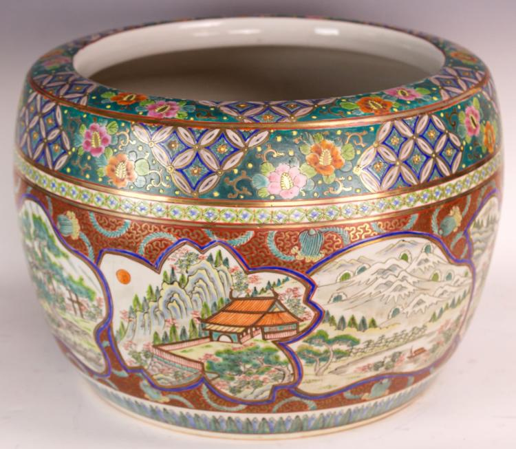 20th Century Japanese Hand Painted Koi Pot