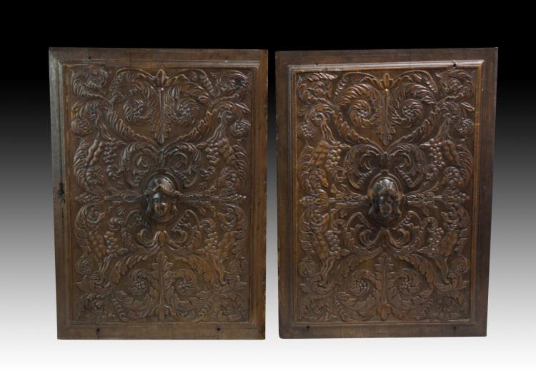 Pr. Flemish 16th C. Wood Door Plaques w/ Faces