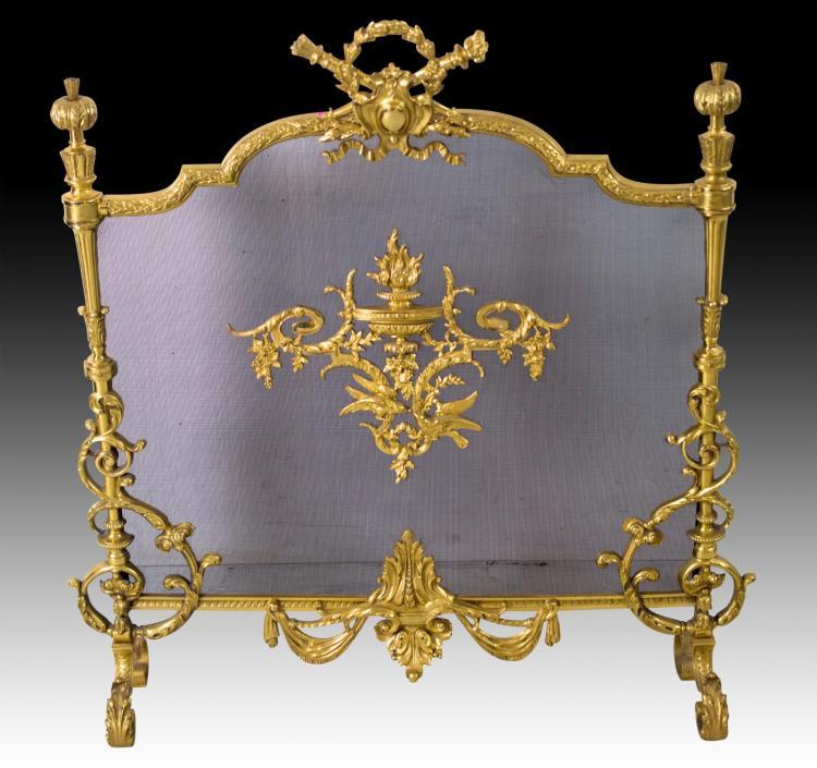 19th C. French Louis XVI Bronze Fireplace Screen
