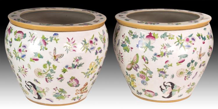 2 Pcs. 20th Century Hand Painted Koi Pots