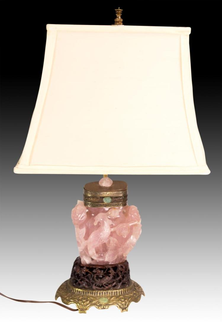 20th C. Chinese Pink Quartz Lamp w/ Jade Inserts