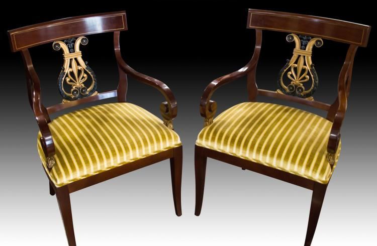 Pair Kindel Neoclassic Arm Chairs #76-087
