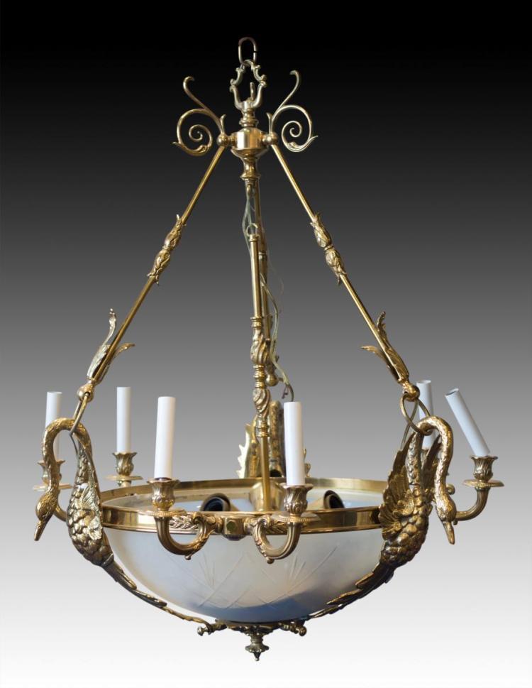 Brass & Glass Chandelier w/ Goose Motif