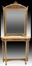French Style Console Table w/ Mirror, Faux Marble