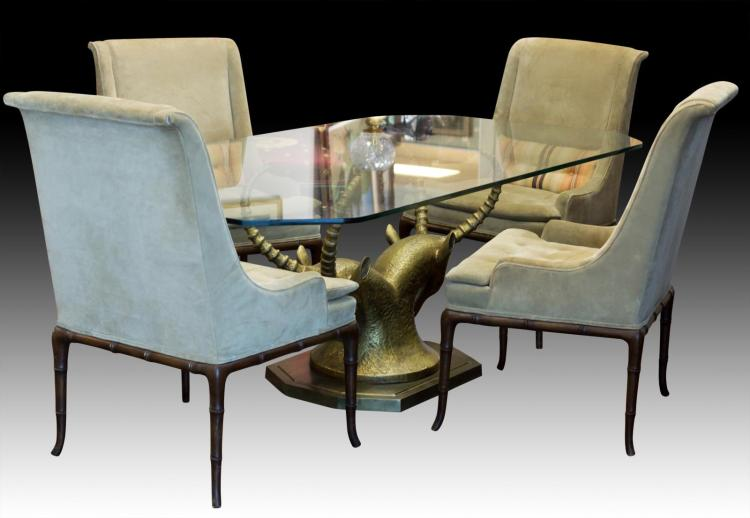 Brass Figural Antelope Table, Glass Top, 4 Chairs