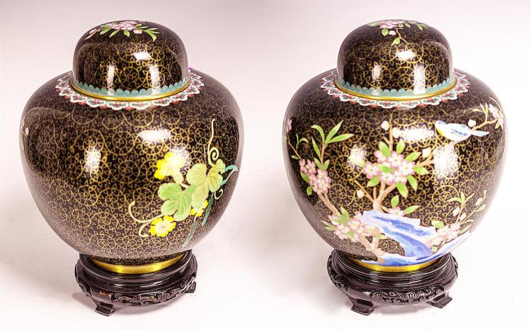2Pc. Peking Cloisonne Ginger Jar Urn w/ Wood Base
