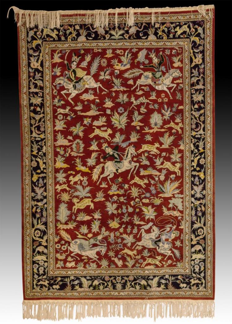 20th Century Persian Rug w/ Hunt Scene