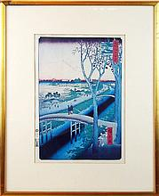 Hiroshige Japanese Woodblock, Bridge