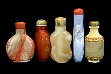 5 Pcs. Chinese Carved Stone Snuff Bottle Lot