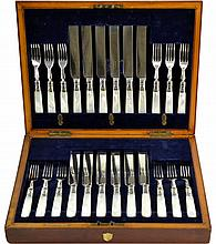 English Cutlery Silver Plate Fish Service for 12