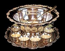 Silver Plate Punch Bowl Set w/ Towle