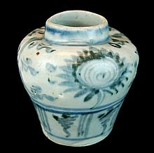 Chinese Blue & White Pottery Jarlette, Ming Period