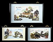 3 Mixed Media Chinese Art Wall Hangings
