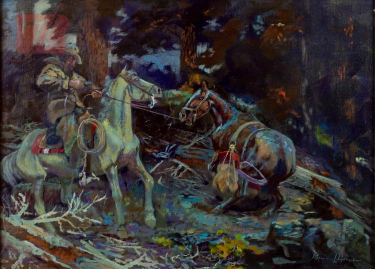 William Hill (1922-2009) Damn Horse Oil Painting