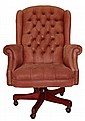 Leather Style Desk Chair w/ Casters