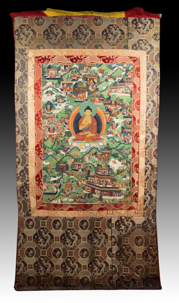 18th C. Life Of Buddha Thangka w/ Silk Cover
