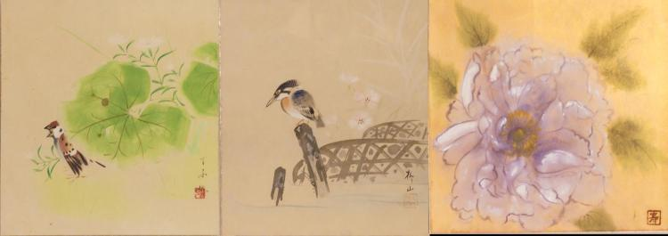 3Pc Asian Watercolors On Paper