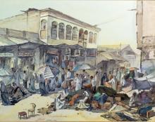 Mohammed Al Hadidi Watercolor, Kuwait Street Scene