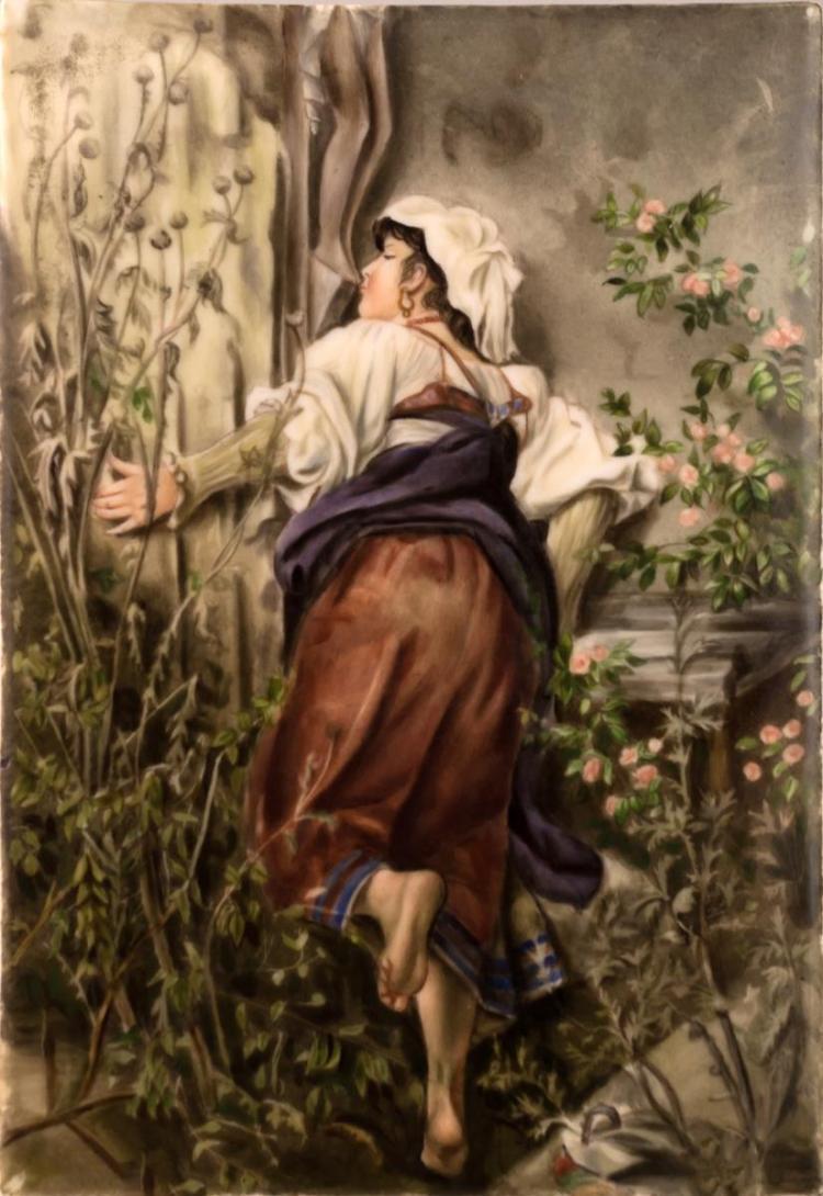KPM Porcelain Plaque, Kissing the Feet of Jesus