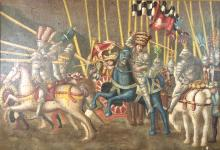 20th C. Oil Painting, A King's Joust