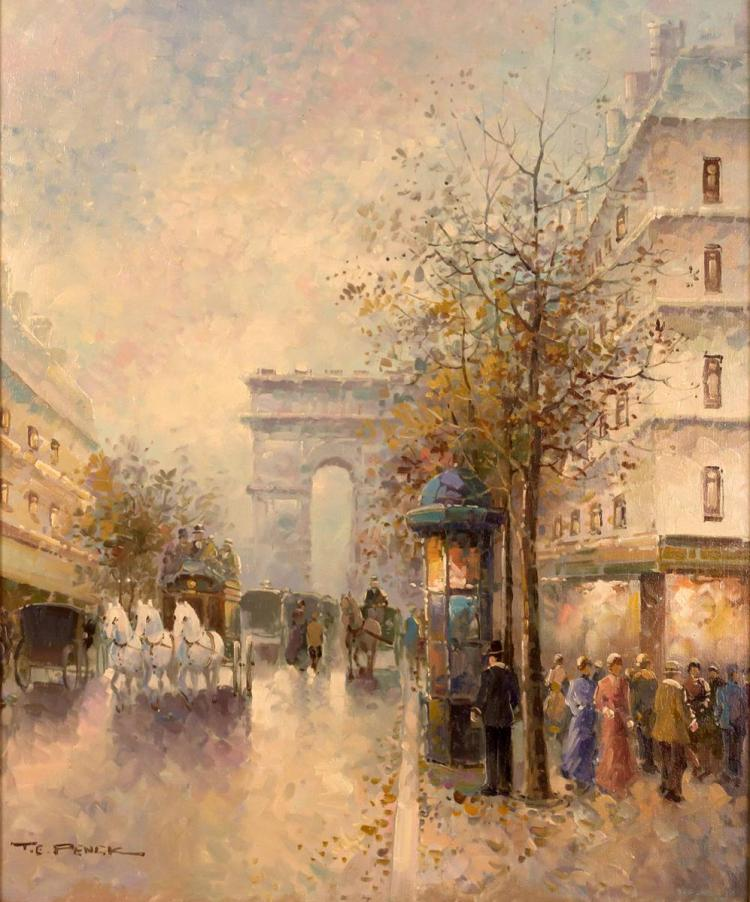 T E Pencke (1929-) Street Scene