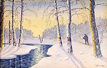 Gulbrand Sether (1869-1941) Snowy Landscape