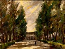 S. Paoletti Oil Painting, Street Scene