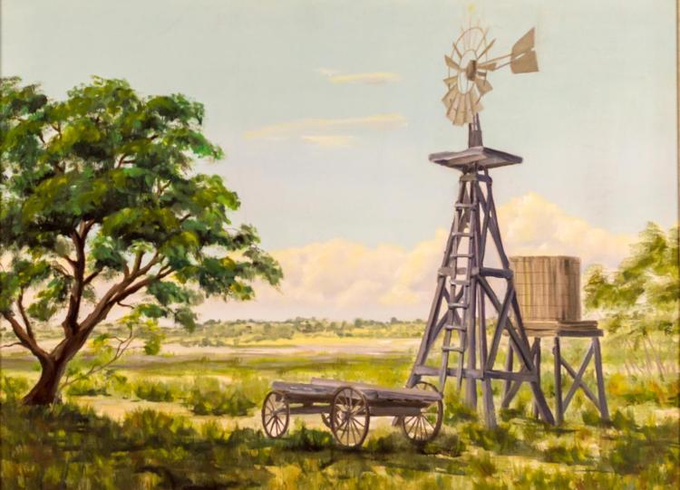 Mardelle Driscoll (1939-2014) Windmill Landscape