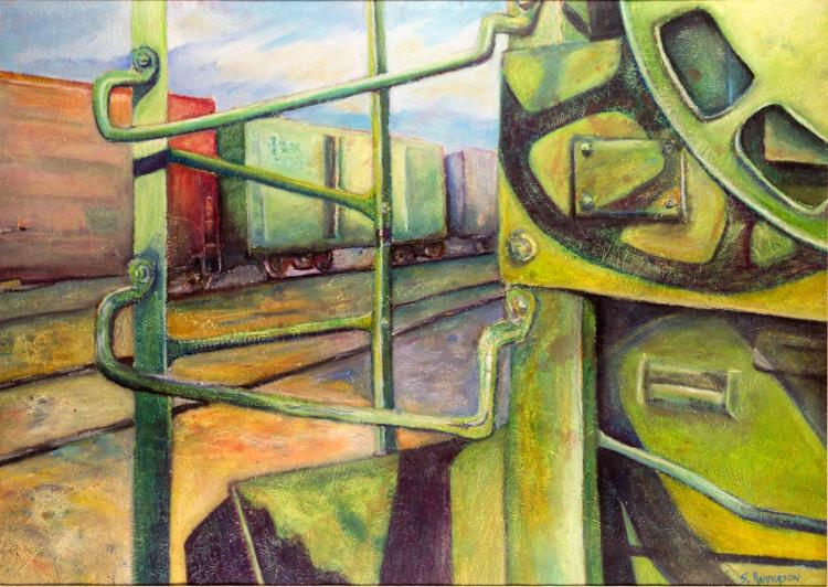 Scott Anderson (b 1973) Green Machine Oil Painting