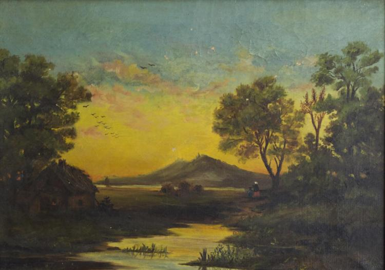 19th C. River Landscape Oil Painting