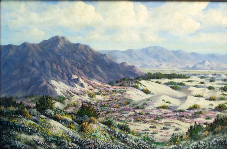 Berger California Desert Scene, Oil on Board